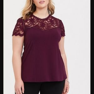Torrid Plus 3 3X 22 24 Plum Lace Sexy Top Shirt